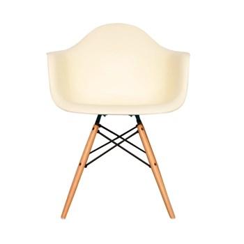 Cadeira Charles Eames Eiffel Com Braços e Base em Madeira - Assento em Polipropileno Cor Creme