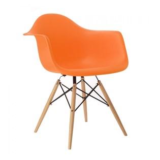 Cadeira Charles Eames Eiffel Com Braços e Base em Madeira - Assento em Polipropileno Cor Laranja