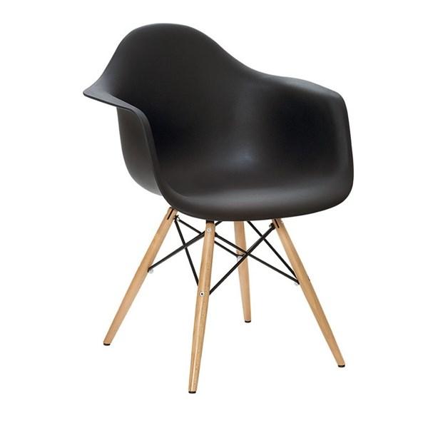 Cadeira Charles Eames Eiffel Com Braços e Base em Madeira - Assento em Polipropileno Cor Preta