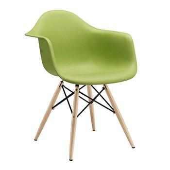 Cadeira Charles Eames Eiffel Com Braços e Base em Madeira - Assento em Polipropileno Cor Verde