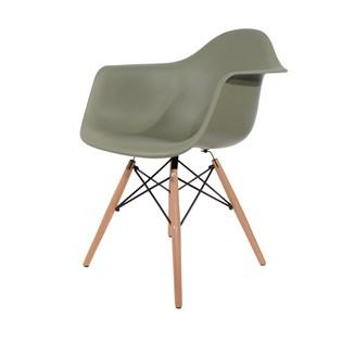 Cadeira Charles Eames Eiffel Com Braços e Base em Madeira - Assento em Polipropileno Cor Verde Militar