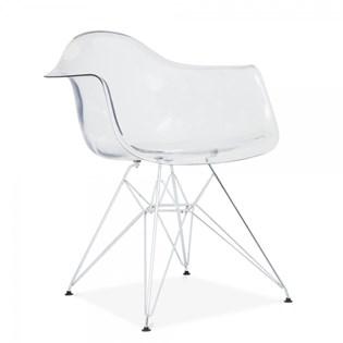 Cadeira Charles Eames Eiffel Com Braços e Base em Metal Cromado - Assento em Policarbonato Transparente Incolor