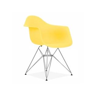 Cadeira Charles Eames Eiffel Com Braços e Base em Metal Cromado - Assento em Polipropileno Cor Amarela