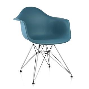 Cadeira Charles Eames Eiffel Com Braços e Base em Metal Cromado - Assento em Polipropileno Cor Azul Turquesa