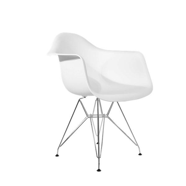 Cadeira Charles Eames Eiffel Com Braços e Base em Metal Cromado - Assento em Polipropileno Cor Branca