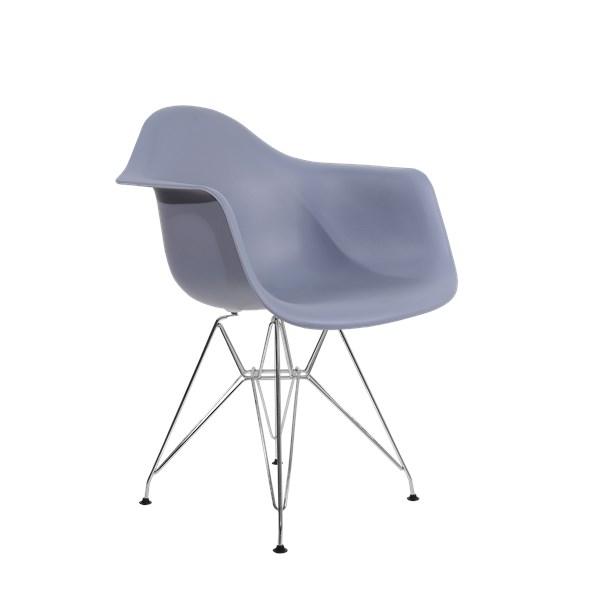 Cadeira Charles Eames Eiffel Com Braços e Base em Metal Cromado - Assento em Polipropileno Cor Cinza Escuro