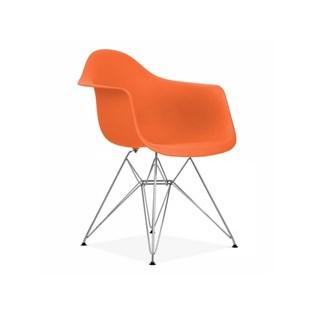 Cadeira Charles Eames Eiffel Com Braços e Base em Metal Cromado - Assento em Polipropileno Cor Laranja