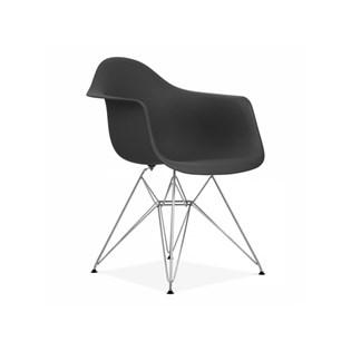 Cadeira Charles Eames Eiffel Com Braços e Base em Metal Cromado - Assento em Polipropileno Cor Preta