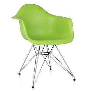 Cadeira Charles Eames Eiffel Com Braços e Base em Metal Cromado - Assento em Polipropileno Cor Verde