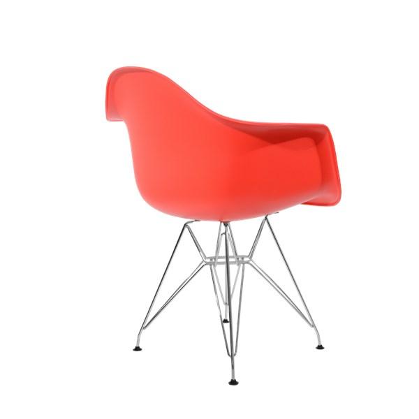 Cadeira Charles Eames Eiffel Com Braços e Base em Metal Cromado - Assento em Polipropileno Cor Vermelha