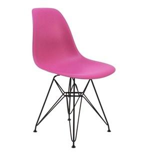 Cadeira Charles Eames Eiffel Sem Braços - Base em Aço Preto - Assento em Polipropileno Cor Rosa Pink