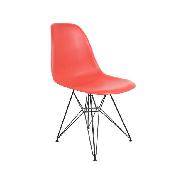 Cadeira Charles Eames Eiffel Sem Braços - Base em Aço Preto - Assento em Polipropileno Cor Vermelha