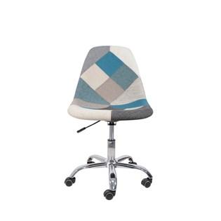 Cadeira Charles Eames Eiffel Sem Braços - Base Giratoria - Assento Patchwork Azul E Cinza