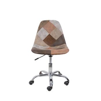 Cadeira Charles Eames Eiffel Sem Braços - Base Giratoria - Assento Patchwork Caramelo