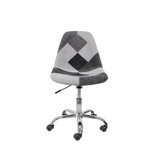 Cadeira Charles Eames Eiffel Sem Braços - Base Giratoria - Assento Patchwork Preto E Branco