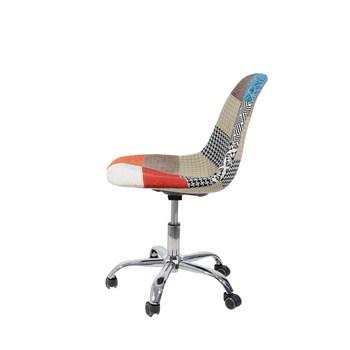 Cadeira Charles Eames Eiffel Sem Braços - Base Giratoria - Assento Patchwork Principal