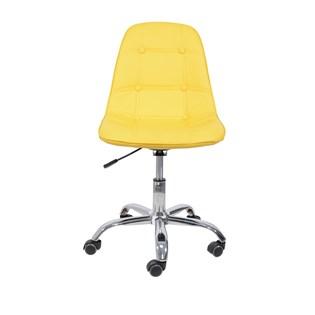 Cadeira Charles Eames Eiffel Sem Braços - Base Giratoria Cromada - Assento Botone Cor Amarela