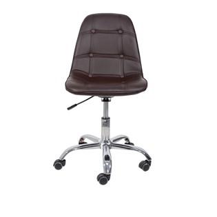 Cadeira Charles Eames Eiffel Sem Braços - Base Giratória Cromada - Assento Botonê Cor Café