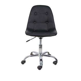 Cadeira Charles Eames Eiffel Sem Braços - Base Giratoria Cromada - Assento Botone Cor Preta