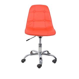 Cadeira Charles Eames Eiffel Sem Braços - Base Giratória Cromada - Assento Botonê Cor Vermelha Detalhes do Produto