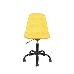 Cadeira Charles Eames Eiffel Sem Braços - Base Giratoria Preta - Assento Botone Amarela