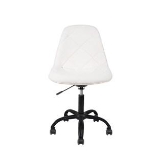 Cadeira Charles Eames Eiffel Sem Braços - Base Giratoria Preta - Assento Botone Courino Branca