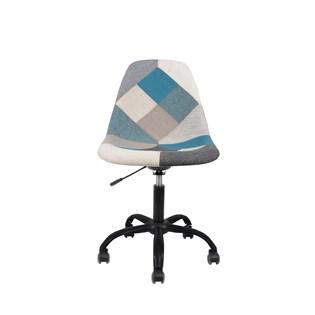 Cadeira Charles Eames Eiffel Sem Braços - Base Giratoria Preta - Assento Patchwork Azul