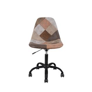 Cadeira Charles Eames Eiffel Sem Braços - Base Giratoria Preta - Assento Patchwork Caramelo
