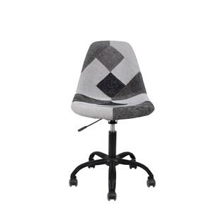 Cadeira Charles Eames Eiffel Sem Braços - Base Giratoria Preta - Assento Patchwork Preto e Branco