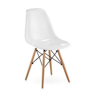 Cadeira Charles Eames Eiffel Sem Braços - Base Madeira - Assento em Policarbonato Branco com Brilho