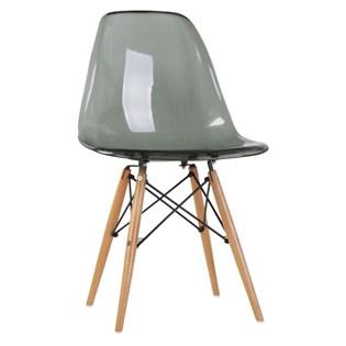 Cadeira Charles Eames Eiffel Sem Braços - Base Madeira - Assento em Policarbonato Cor Fumê