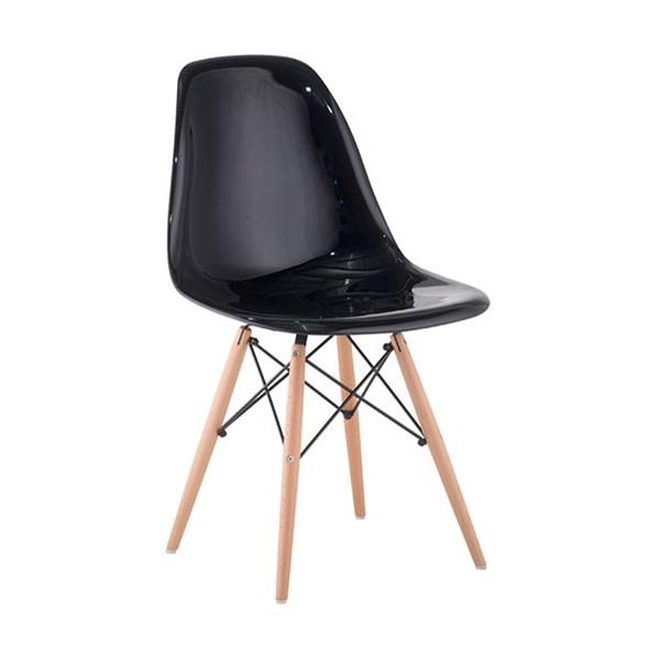 Cadeira Charles Eames Eiffel Sem Braços - Base Madeira - Assento em Policarbonato Cor Preta