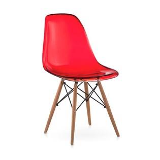 Cadeira Charles Eames Eiffel Sem Braços - Base Madeira - Assento em Policarbonato Cor Vermelha