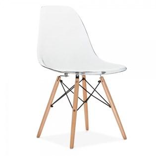 Cadeira Charles Eames Eiffel Sem Braços - Base Madeira - Assento em Policarbonato Transparente Incolor