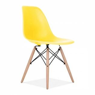 Cadeira Charles Eames Eiffel Sem Braços - Base Madeira - Assento em Polipropileno Cor Amarela
