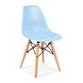 Cadeira Charles Eames Eiffel Sem Braços - Base Madeira - Assento em Polipropileno Cor Azul Claro