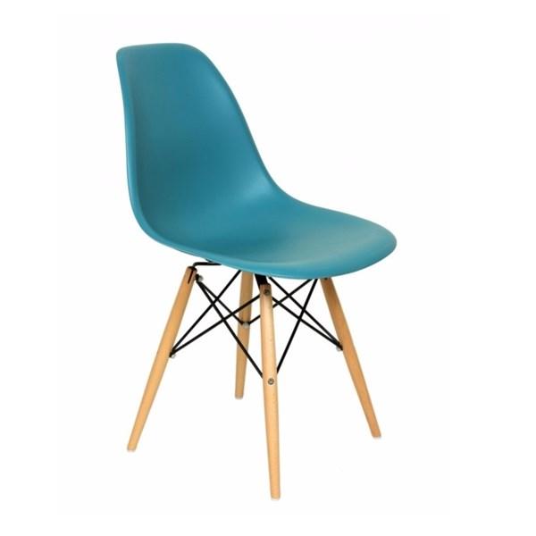 Cadeira Charles Eames Eiffel Sem Braços - Base Madeira - Assento em Polipropileno Cor Azul Turquesa