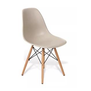 Cadeira Charles Eames Eiffel Sem Braços - Base Madeira - Assento em Polipropileno Cor Bege