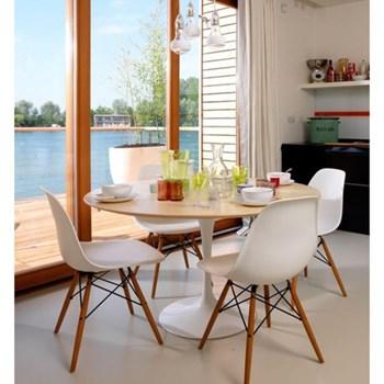 Cadeira Charles Eames Eiffel Sem Braços - Base Madeira - Assento em Polipropileno Cor Branca