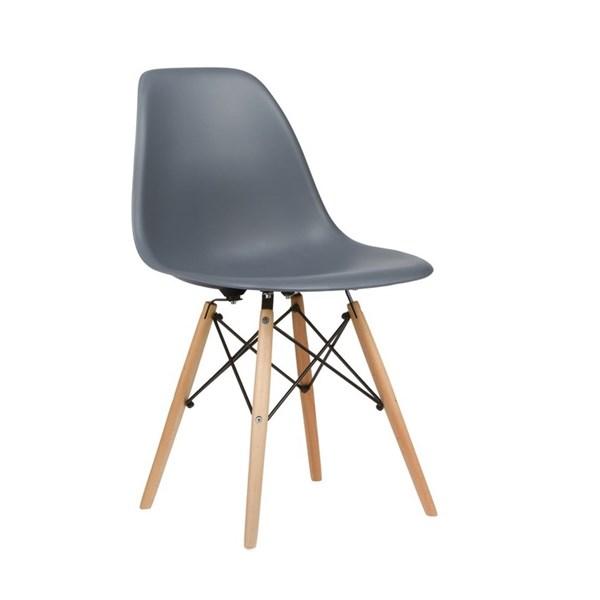 Cadeira Charles Eames Eiffel Sem Braços - Base Madeira - Assento em Polipropileno Cor Cinza Escuro