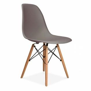 Cadeira Charles Eames Eiffel Sem Braços - Base Madeira - Assento em Polipropileno Cor Cinza Quente