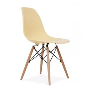 Cadeira Charles Eames Eiffel Sem Braços - Base Madeira - Assento em Polipropileno Cor Creme