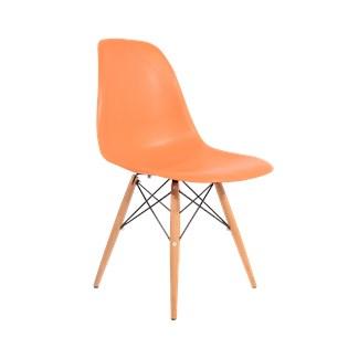 Cadeira Charles Eames Eiffel Sem Braços - Base Madeira - Assento em Polipropileno Cor Laranja