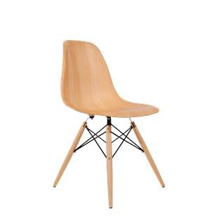 Cadeira Charles Eames Eiffel Sem Braços - Base Madeira - Assento em Polipropileno Cor Madeira
