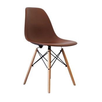 Cadeira Charles Eames Eiffel Sem Braços - Base Madeira - Assento em Polipropileno Cor Marrom