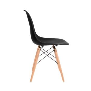 Cadeira Charles Eames Eiffel Sem Braços - Base Madeira - Assento em Polipropileno Cor Preta