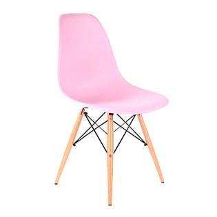 Cadeira Charles Eames Eiffel Sem Braços - Base Madeira - Assento em Polipropileno Cor Rosa