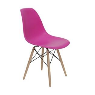 Cadeira Charles Eames Eiffel Sem Braços - Base Madeira - Assento em Polipropileno Cor Rosa Pink