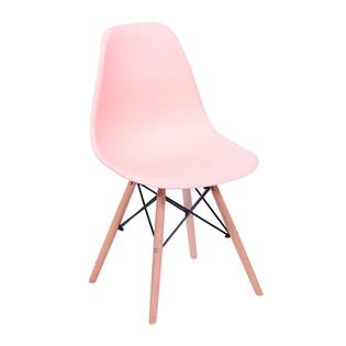 Cadeira Charles Eames Eiffel Sem Braços - Base Madeira - Assento em Polipropileno Cor Rosa Salmão