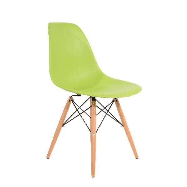 Cadeira Charles Eames Eiffel Sem Braços - Base Madeira - Assento em Polipropileno Cor Verde Claro